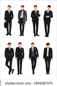 Vector of young businessman, Business people, group of men, wearing working outfit, standing in white background