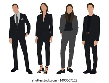 Vector of young businessman and women with suit, Business people, group of men and women,wearing working outfit,standing in white background