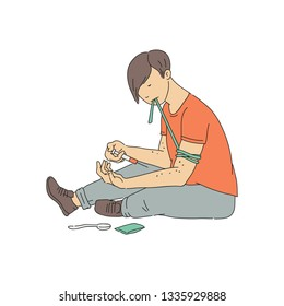 Vector young drug addict man making injection of heroin or cocaine narcotic. Young junkie surrering from severe addiction leading to HIV, AIDS. Health care concept.