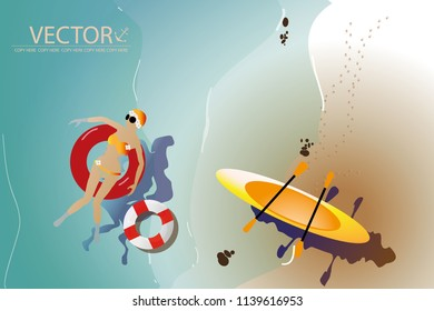 vector young girl sitting on red rubber tube on sea beach background