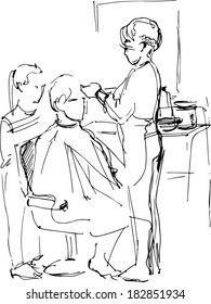 vector young man in the barber shop at the master