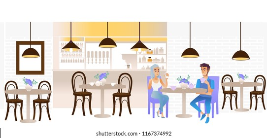 Vector young man and woman talking sitting at table with coffee or tea cups and flowers in vase holding smartphone in cafe, restaurant interior. Dating, friendly meeting and communication