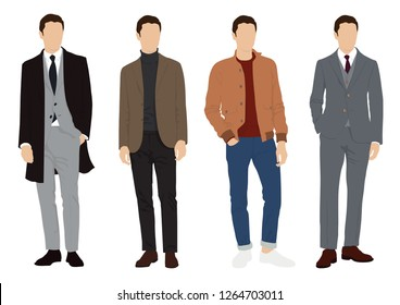 Vector of young men in various suit, formal mix casual style.Group of men standing in white background, flat style vector illustration