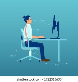 Vektorgrafik eines jungen Büroangestellten, der während der Arbeit an einem Computer eine korrekte Sitzhaltung am Schreibtisch hat