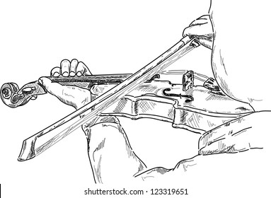 vector - young violinist playing the violin , detail