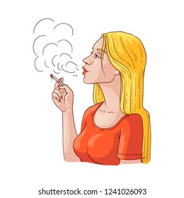 Vector young woman smoking. Sketch beautiful blonde girl exhaling filthy smoke holding smoldering cigarette in hand. Female character smoker with nicotine addiction