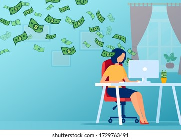 Vector of a young woman working on computer from home and earnings money