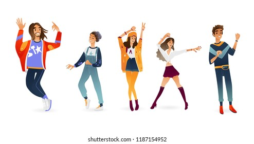 Vector young women, men dancing. Cartoon illustration with attractive caucasian girls, guys at party. Female, male dancer characters, isolated illustration.