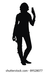 Vector young women silhouette  with glasses and phone on hand