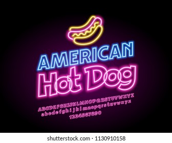 Vector youth banner American Hot Dog. Neon glowing Font. Colorful electric light Alphabet Letters, Numbers and Symbols