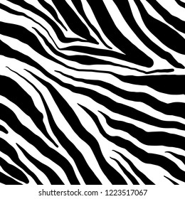 Vector zebra seamless pattern. Black and white beautiful texture. Perfectly for wrapping paper, bed linen, textile, fabric, cover, wallpaper, fashion, kids clothing, bags prints.