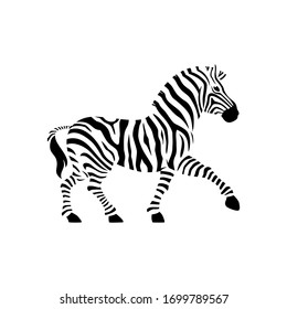 Vector zebra standing isolated on white background,graphical sketch