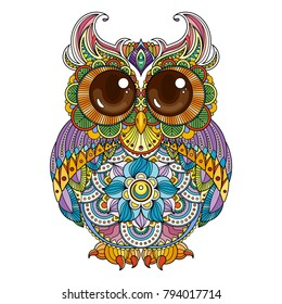 Vector zendoodle ornate owl illustration. Cute patterned funny bird. Picture for coloring pages, printing and antistress books.