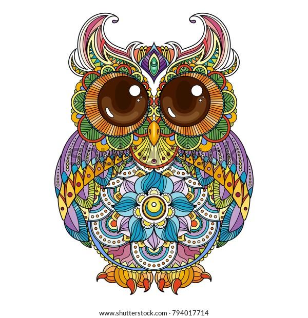 ベクター画像の装飾的なフクロウのイラスト かわいい柄のおかしな鳥 ページ 印刷 およびアンチストレスの本のカラー用の画像 のベクター画像素材 ロイヤリティフリー