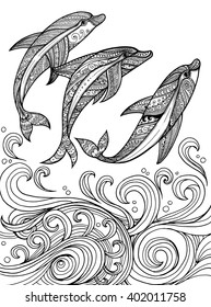 Vector zentangle dolphins in scrolling sea wave for adult coloring page. Hand drawn artistically ethnic ornamental patterned illustration.