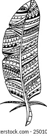 Vector  zentangle feathers on a white background Illustration is created from a  personal sketch by trace.  Series of doodle feather.
