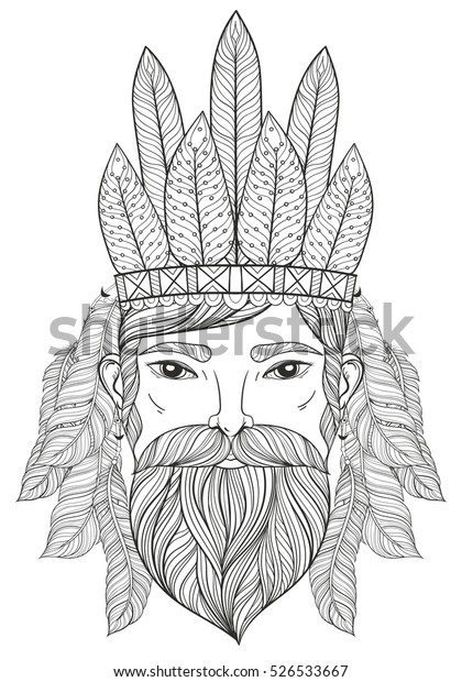 Vector Zentangle Portrait Man Mustache Beard Stock ...