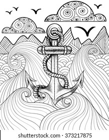 Vector zentangle print for adult coloring page. Hand drawn artistically ethnic ornamental patterned sea anchor.
