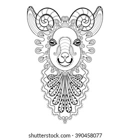Vector zentangle Ram Head illustration,  Goat print for adult anti stress coloring page. Hand drawn artistically ornamental patterned decorative Sheep. Animal collection for tattoo design