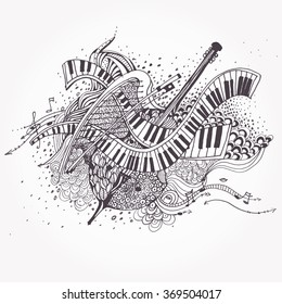 Vector Zentangle stylized abstract Music Background, Collage with musical instruments.  Hand Drawn doodle tribal zenart illustration on white background. Sketch for tattoo. Engraving.
