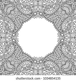 Vector zentangle template frame floral mandala for decorating greeting cards, coloring books, art therapy,  wedding invitation, brochure, flyer, poster, packaging, textile, notebook, cover.