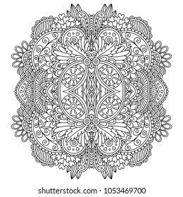 Vector zentangle template mandala for decorating greeting cards, coloring books, art therapy, anti stress, print for t-shirt and textile.