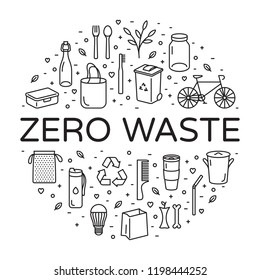 Vector Zero Waste logo design template set. Linear icon illustration of  Refuse Reduce Reuse Recycle Rot. No Plastic and Go Green background in circle form. Еco lifestyle sign and symbol collection