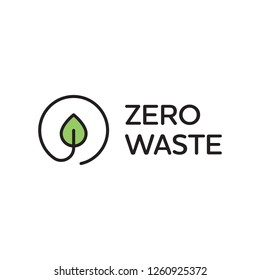 Vector Zero Waste logo design template. Linear eco icon label with leaf. Simple illustration of  Refuse Reduce Reuse Recycle Rot. No Plastic and Go Green concept with circle plant