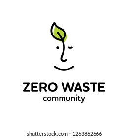 Vector Zero Waste logo design template. Linear eco icon with human face and leaf. No Plastic and Go Green concept. Man and plant label illustration of  Refuse Reduce Reuse Recycle Rot