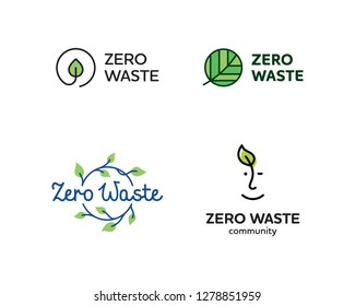 Vector Zero Waste logo template set. Linear eco icon labels with leaves. Color emblem illustrations of  Refuse Reduce Reuse Recycle Rot. No Plastic and Go Green symbol concept with circle and plant