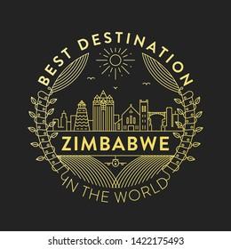 Vector Zimbabwe City Badge, Linear Style
