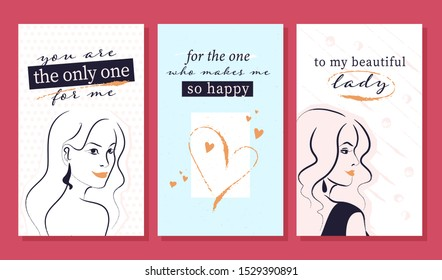 Vector zine cards with beautiful girls illustrations and congratulations. Birthday, women day greeting. Hand rdawn sketch style.