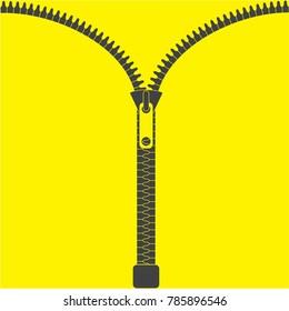Vector zipper, fastener vector. Zipper isolated on yellow background. Fashion fastener, zipper for cloth. Flat design. Vector illustration EPS10.