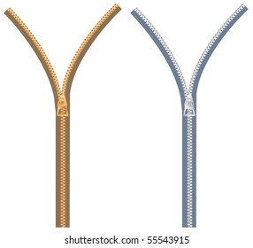 vector zipper in two color variations