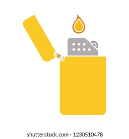 vector Zippo lighter isolated icon - smoking fire illustration sign . safety flammable sign symbol