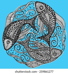 Vector Zodiac Sign Pisces - Mandala