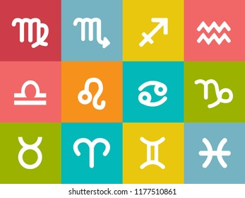 vector zodiac signs SET like libra, taurus, sagittarius, pisces, aries, gemini, leo, cancer zodiac, capricorn, scorpio, aquarius, virgo