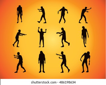 Vector zombie collection in silhouette style on orange background. Many action. Halloween concept.