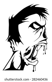 Vector zombie head black and white