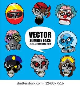 Vector zombie head illustration collection set