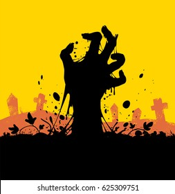 Vector zombie palm. Isolated background.