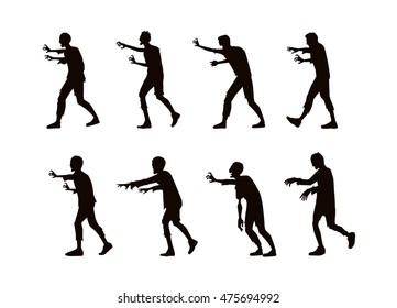 Vector zombie walking and reaching out hand in silhouette style
