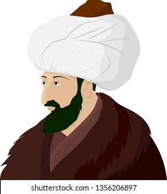 Vectoral cartoon illustration of Sultan Mehmed the Conqueror (Fatih Sultan Mehmed). Sultan Mehmed II was the Ottoman Sultan who conquered Istanbul/Constantinople.  Isolated in white background.