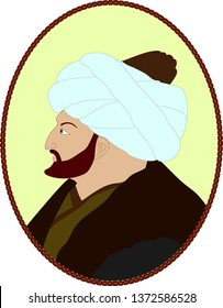Vectoral cartoon illustration of Sultan Mehmed the Conqueror ( in islamic miniature style. Sultan Mehmed II was the Ottoman Sultan who conquered Istanbul/Constantinople.  Isolated in white background.