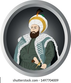 Vectoral illustration of Sultan Mehmed the Conqueror (Fatih Sultan Mehmed). Sultan Mehmed II was the Ottoman Sultan who conquered Istanbul/Constantinople.  Isolated in white background.