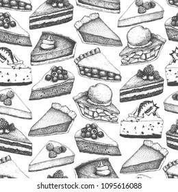 Vectorbackground with ink hand drawn fruit and berry baking illustration. Vintage design with traditional cake, tart and pie sketch. Sweet bakery menu. Seamless pattern