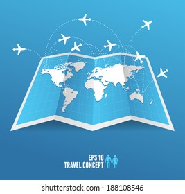 Vectorblue map icon and airplane. Travel concept.