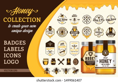Vectore honey design collection. Badges, labels, icons, logo and packaging design templates with bees, jars and dripping honey for apiary and beekeeping  products branding and identity