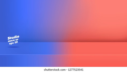 Vector,Empty blue gredient to vivid coral pink color studio table room background ,product display with copy space for display of content design.Banner for advertise product on website