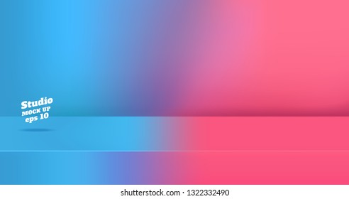 Vector,Empty blue gredient to vivid pink color 3d studio table room background ,product display with copy space for display of content design.Banner for advertise product on website